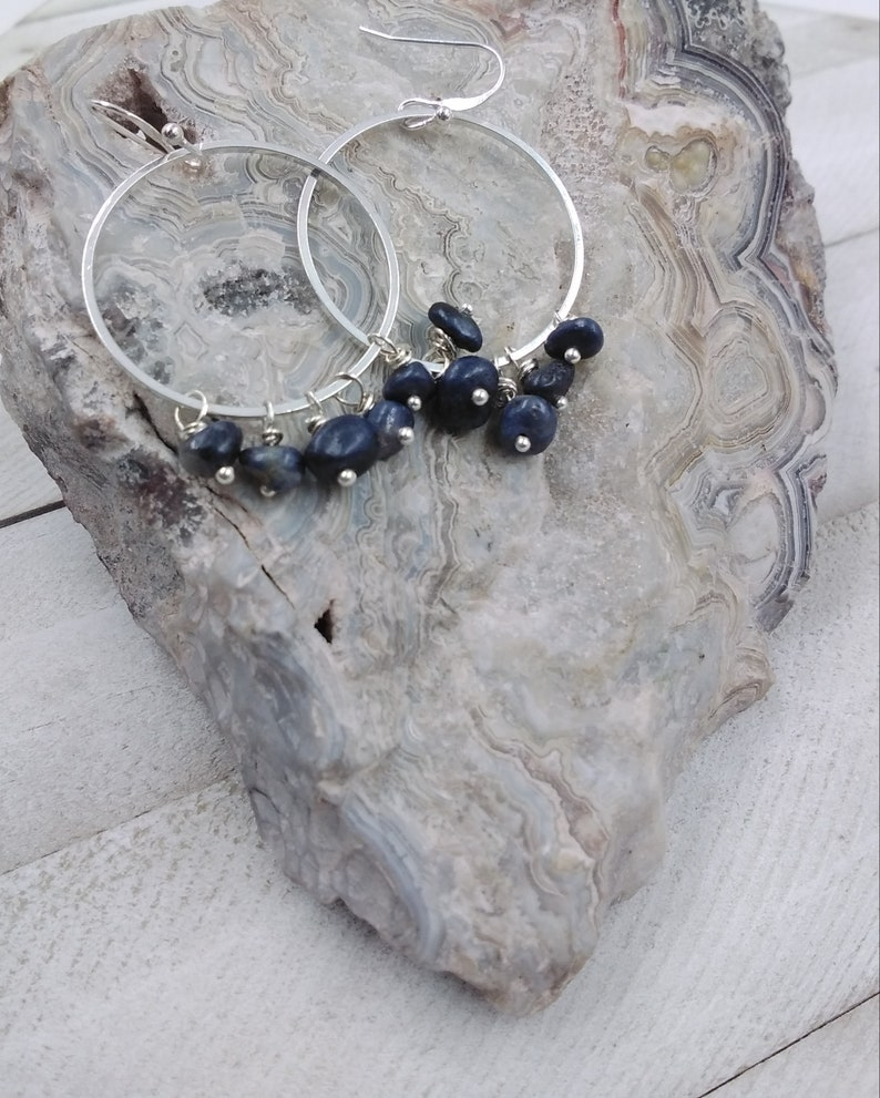 September Birthstone Sapphire Cluster Earrings with Circle Accent Sterling Filled
