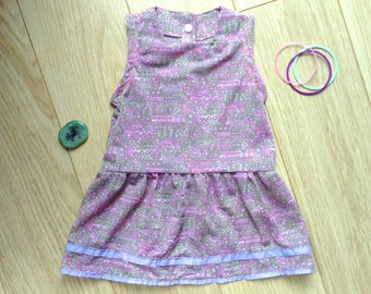Pastel baby dress size 4-5-6 months, dropped waist dress for baby girl, pastel dress 4 months, baby dress 5 months, pastel dress 6 months