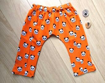 Panda harem pants 12-18 months, orange leggings 1 year, orange harem pants 12 months, panda leggings 18 months, orange harem pants 1 year