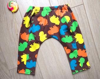 Harem pants hippo's for baby 6-9 months, leggings 6 months, baby harem pants 7 months, baby leggings 8 months, harem pants baby 9 months