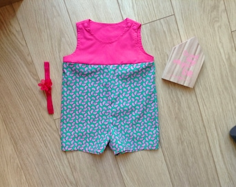 Pink romper baby size 4-6 months, pink playsuit baby size 4-6 months, pink newborn playsuit, pink newborn romper