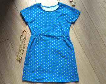 Polka dot summer dress size 6, blue stretch dress 6 years, blue jersey summer dress 6 years, polka dot summer dress size 6