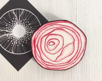 Onion Wooden Brooch