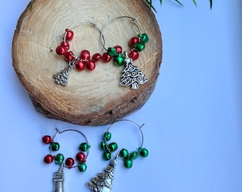 Christmas Tibetan Charms for Wineglasses, Red and Green Bauble Wine Charms, Decorative Luxury Christmas Table, Charm Gift for Wine Lovers