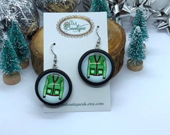 Green Christmas Jumper Earrings for Ladies, Sweater Print Cabochon Earrings, Novelty Earrings for Jumper Day, Secret Santa Presents for her