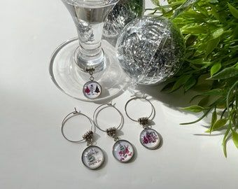 Christmas Table Charms for Decor, Winter themed Wine Glass Charms, Christmas Dining Charm Set of 4, Gift for Wine Lovers, Wedding Charms