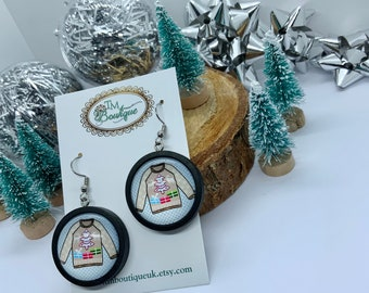 Christmas Sweater Party Earrings, Xmas Jumper Drop Earrings, Unique Accessories for Jumper Day, Stocking Fillers, Secret Santa Gift for Her