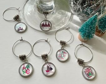 Christmas Wineglass Charm Set for 6, Christmas Table Decor, Markers for Cocktail Glasses, Winter Table Decor, Xmas Charms For Toasting