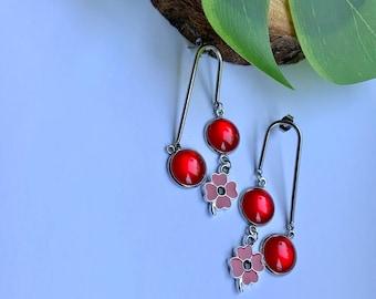 Red Poppy Flower Earrings, Long dangle Earrings for Ladies, Poppy Charm Earrings, Red Cabochon Drop Earrings, Unique Accessories for Ladies
