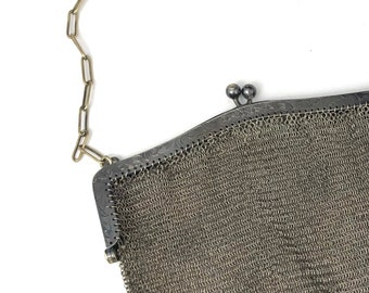 Antiques Periods & Styles Antique Art Deco Greek Key Style Frame German Silver 4 Ball Tassel Mesh Purse
