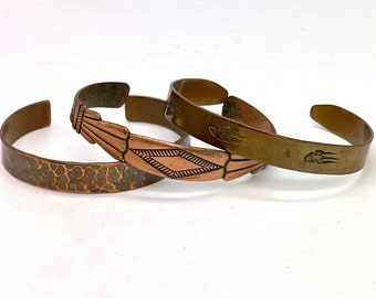 Native American Copper Cuff Bracelet Hand Stamped Tribal Jewelry Vintage