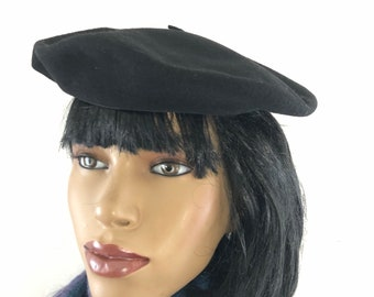80dc4004 Vintage Black Wool Beret Basque Hat Exposicion Made in Spain Avant Garde  Unisex