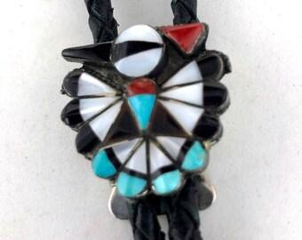 b47cef8f60f9 Zuni Thunderbird Bolo Tie Necklace Signed Priscilla Sanchez Turquoise Coral  Onyx MOP Peyote Sterling Silver Native American Indi