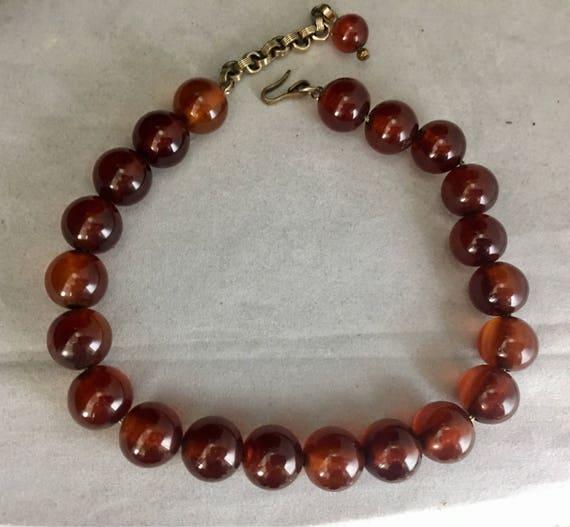 40s Bakelite Bead Choker Necklace Resin Jewelry R… - image 5