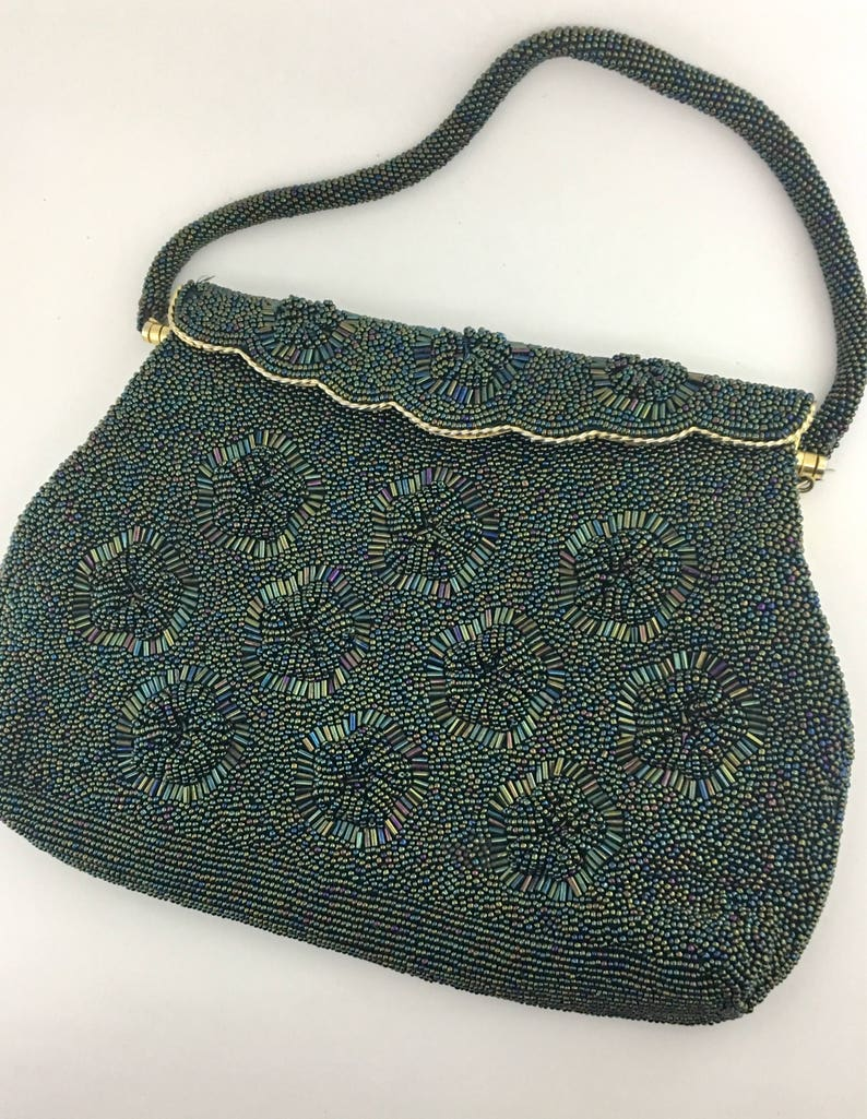 1d3745abeca0d Vintage 50s Gray Black Beaded Evening Bag Formal Purse