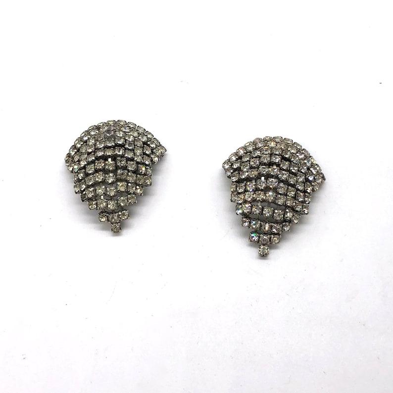 Vintage MUSI Rhinestone Shoe Clips Mid Century Silver Tone