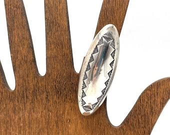 Long Navajo Sterling Silver Dome Ring by Esther Wood Hand Stamped & Signed Vintage Native American Indian Jewelry