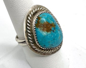 Large Royston Turquoise Ring Signed Patricia Platero Navajo 925 Sterling Silver Vintage Womens Mens