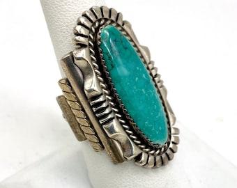 Large Navajo Turquoise Ring by Dean Sandoval Jr. 925 Sterling Silver Signed Size 8 Vintage Southwestern