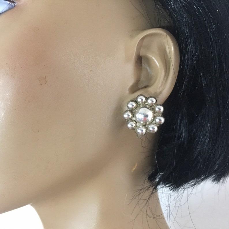 Sterling Silver Flower Earrings Unpierced Screwback Old Mexican Jewelry Vintage Boho Botanical