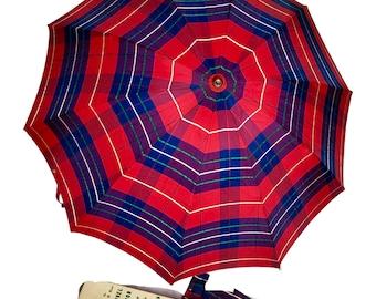 60s Plaid Umbrella Carved Lucite Handle In Box Red Blue Folding Marvel Junior by John U. Burt - Deadstock