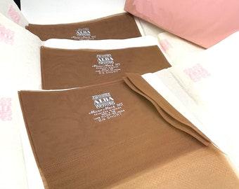 3 Pr Vintage Beige Seamless Stockings Size 8 1/2 Short Alba Deadstock NOS Never Worn