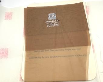 Vintage Beige Seamless Stockings 8 1/2 Alba Deadstock 15 Denier NOS Never Worn