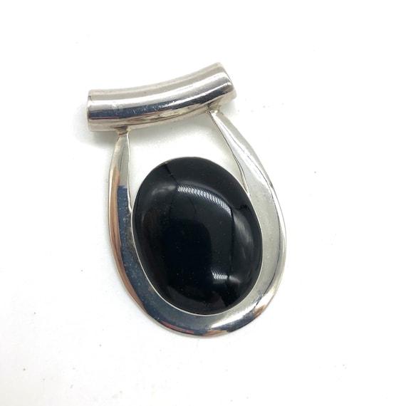 Vintage Solid Sterling Silver925 Oval Black Onyx Slider Pendant; # 6061