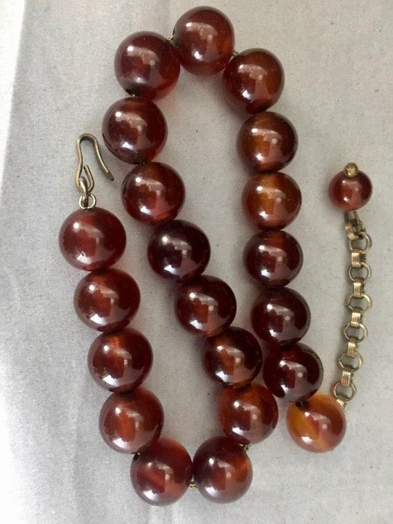 40s Bakelite Bead Choker Necklace Resin Jewelry R… - image 8