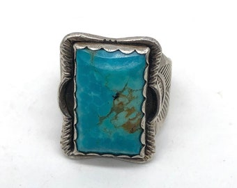 Fred Harvey Era Turquoise Ring 925 Sterling Silver Size 8.25 Vintage Southwestern