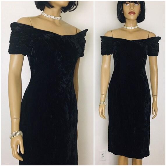 2d8570cb13611 Off Shoulder Retro Black Velvet Cocktail Dress 80s Prom Dress Short