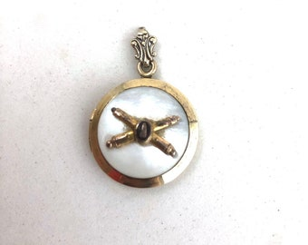 WWII Gold Filled Photo Locket Pendant U.S. Army Artillery Corps w/ Mother of Pearl Sterling Silver
