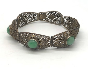 Jade Chinese Export Silver Bracelet Gilded Gold Filigree / Art Deco Jewelry
