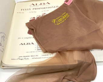 Vintage Beige Seamed Stockings Size 9 Alba Deadstock NOS Never Worn Cuban Heel