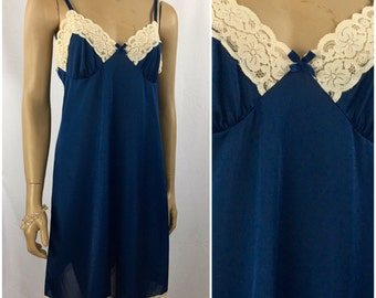 St Michael Navy Blue Full Slip Dress 36 Medium Large Vintage 1960s Lingerie with Ivory Lace Nylon Polymide made in UK