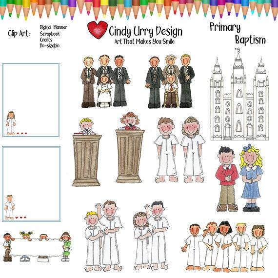 Primäre Taufe Clipart 2 Digitale Planer Ctr Konfirmation Banner Tempel Gemeinsame Zeit Kinder Lds Mormon Cindy Urry 300 Dpi Png