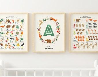 Personalised Woodland Nursery Prints, Alphabet, Numbers & Name Wall Art, Forest Nursery Decor, Personalised Gift, Nature Nursery Art