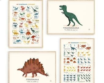 Dinosaur Prints, Dino Themed Nursery Wall Art Set of 4 Dinosaur Art Prints, Dinosaur prints boys room, Can Be Personalised