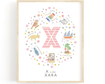Letter X Personalised Name Print, Baby Gift Idea, Baby Girl Nursery Decor