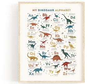 Dinosaur Alphabet Art Print, Personalized Gift for Kids, Dinosaur Theme Nursery Wall Art