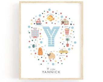 Letter Y Personalised Name Print, Baby Gift Idea, Baby Boy Nursery Decor