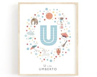 Letter U Personalised Nursery Name Print, Baby Gift Idea, Baby Boys Nursery Decor