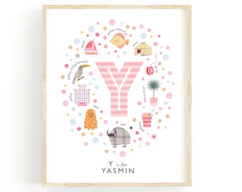 Letter Y Personalised Name Print, Baby Gift Idea, Baby Girls Nursery Decor