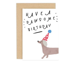 Dog Birthday Card Have A Pawsome Happy Lovers Greeting Personalised