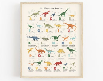 Dinosaur Print, Dinosaur Nursery Art, Dinosaur Theme Alphabet Print, Perfect Gift for Dinosaur Lovers, Can Be Personalised