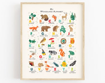 Woodland Print, Forest Theme Alphabet Poster, Woodland Nursery Art, Perfect Gift for Nature Lovers, Can Be Personalised