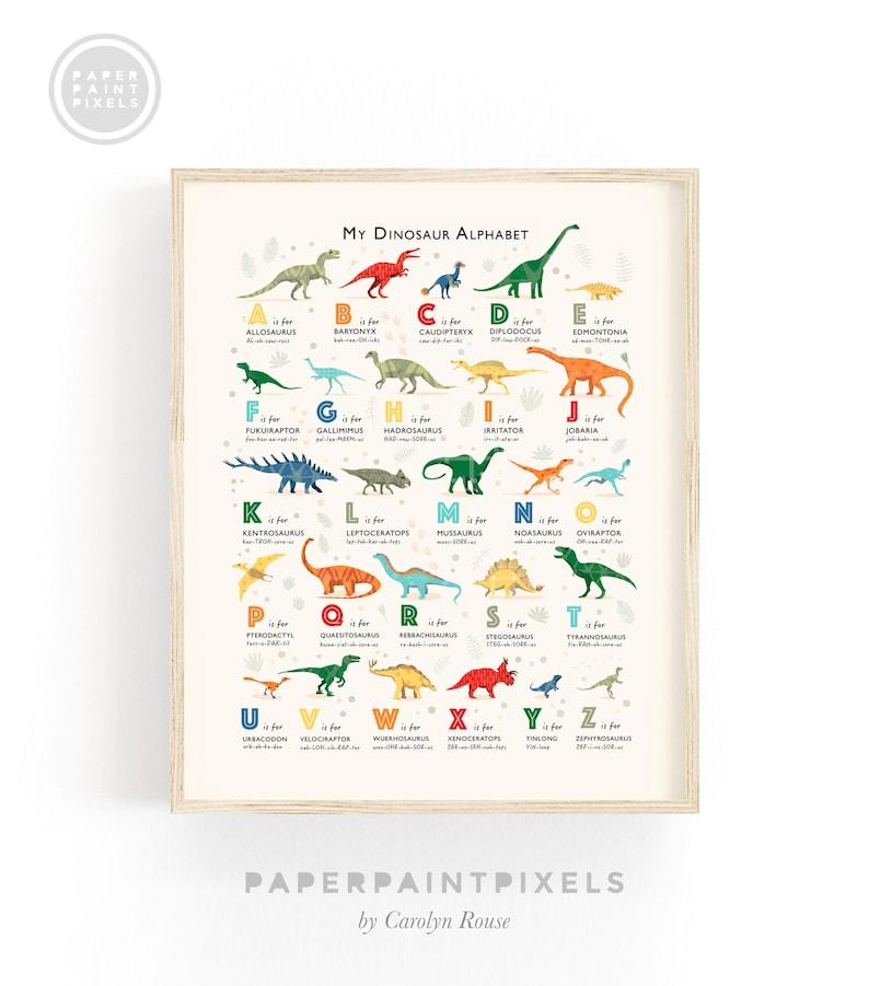Dinosaur Alphabet Print Toddler Room Decor Classroom Decor image 0