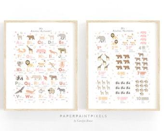 Peach Pink Safari Animal Print Set, Alphabet Poster & Numbers Set, Girls Nursery Decor