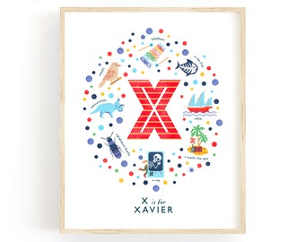 Letter X Personalised Name Print, Baby Gift Idea, Baby Boy Nursery Decor