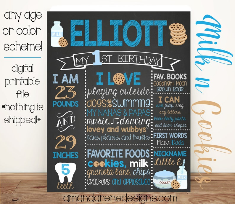 any age or colors! PrintableDigital File First Birthday Chalkboard Poster Milk and Cookies Blue
